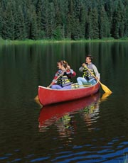 Canoeing on lake; Size=180 pixels wide