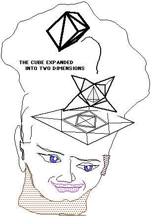 Picture shows the 3-D cube tranformed to 2-D.